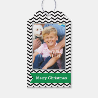 Black Chevrons with Green Banner and Photo Gift Tags