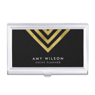 Black Chic Faux Gold Geometric Business Card Holder
