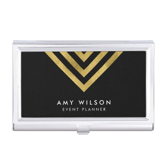Black Chic Faux Gold Geometric Case For Business Cards