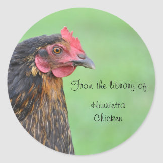 Black chicken bookplate sticker