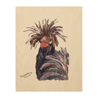 """Black Chicken"" Wood Wall Art"