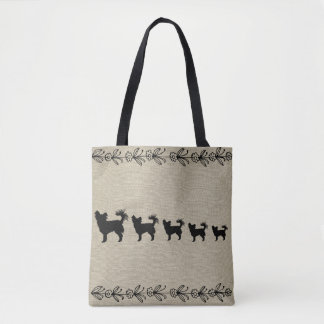 Black Chihuahua Silhouette Vintage Floral Tote