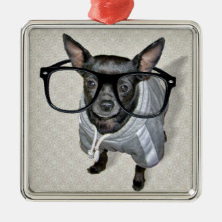 Black Chihuahua with Glasses Photo Metal Ornament