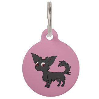 Black Chihuahua with Long Hair Pet Nametags