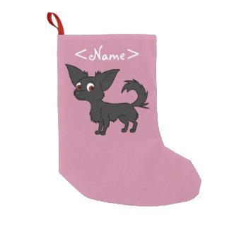 Black Chihuahua with Long Hair Small Christmas Stocking