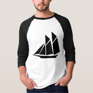 Black Chinese Junk Style Sailing Ship Baseball Tee