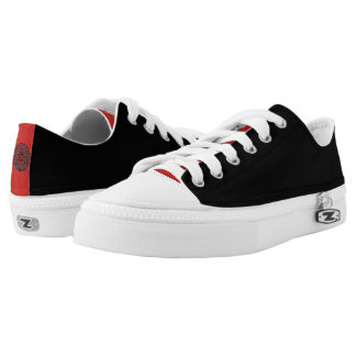 Black Chinese Motif Low-Top Sneakers