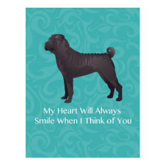 Black Chinese Shar Pei Thinking of You Design Postcard