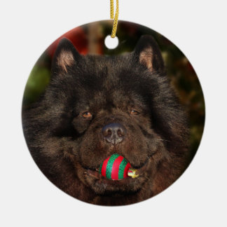Black Chow Christmas Ceramic Ornament