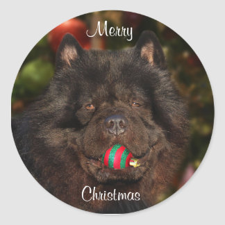 Black Chow Christmas Classic Round Sticker
