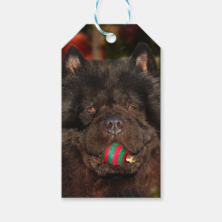 Black chow dog Christmas Gift Tags