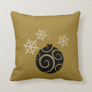 Black Christmas Bauble & Snowflakes Throw Pillows