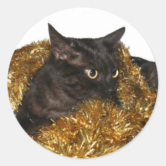 Black Christmas cat Classic Round Sticker