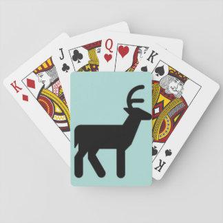 Black Christmas deer, sky blue color Playing Cards