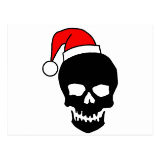 Black Christmas Skull Postcard