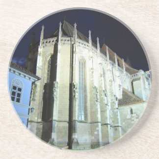 Black church in Brasov, Romania Beverage Coaster