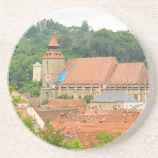 Black church in Brasov, Romania Drink Coaster