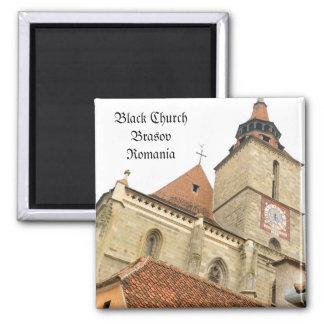 Black church in Brasov, Romania Square Magnet