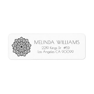 Black Circle Geometric Mandala Return Address Label