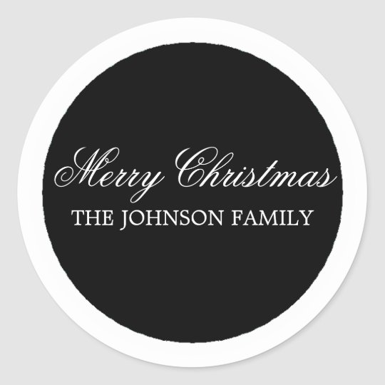 Black Circle Merry Christmas Stickers