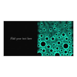Black Circles over Turquoise Design Custom Photo Card