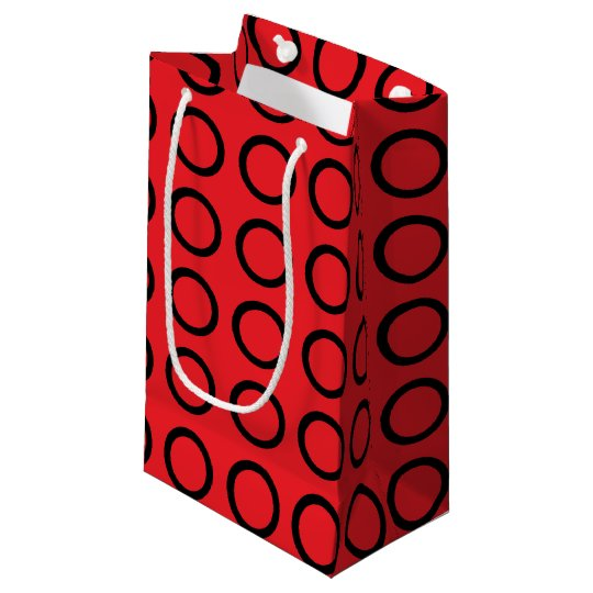 Black Circles Red Small Gift Bag