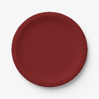 Black Circles w/Dark Red Paper Plate