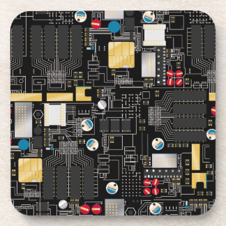 Black circuit board drink coaster