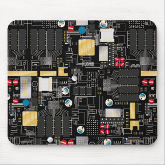 Black circuit board mouse pad