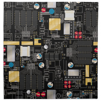 Black circuit board napkin