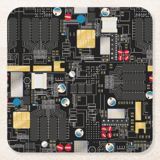 Black circuit board square paper coaster