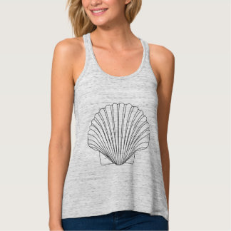 Black Clam Scallop Seashell Tank Top