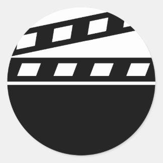 Black Clapperboard Round Sticker