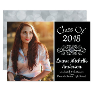 "Black ""Class of 2018"" Photo Grad Announcement"
