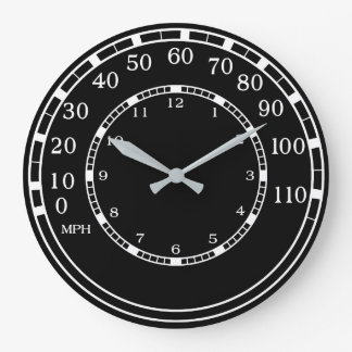Black Classic Car Speedometer Garage Wall Clock