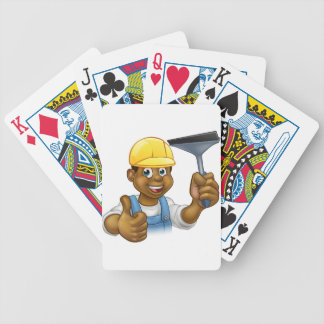 Black Cleaner With Squeegee Bicycle Playing Cards