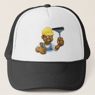 Black Cleaner With Squeegee Trucker Hat