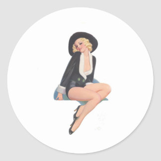 Black Coat Vintage Pinup Pose Classic Round Sticker