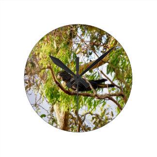 BLACK COCKATOO RURAL QUEENSLAND AUSTRALIA WALL CLOCK