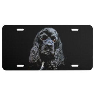 Black cocker spaniel face license plate