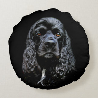 Black cocker spaniel face round pillow