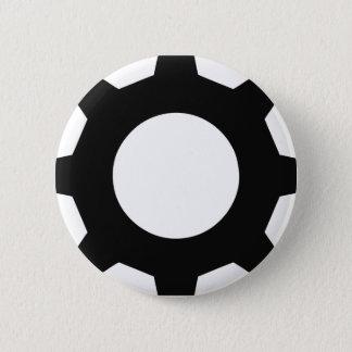 black cogwheel cog 2 inch round button