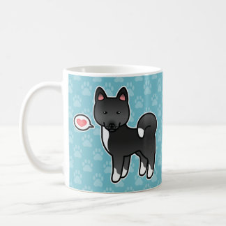 Black Color Akita Breed Dog Cartoon Illustration Coffee Mug