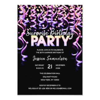Black Color Streamers SURPRISE BIRTHDAY PARTY Card