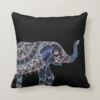 Black Colorful Elephant Print Throw Pillow