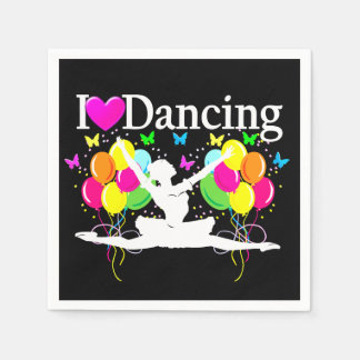 BLACK COLORFUL I LOVE DANCING PARTY GOODS PAPER NAPKIN