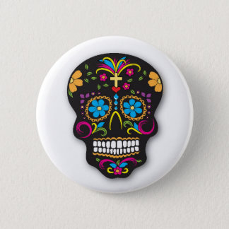 Black Colorful Mexican Sugar Skull Day of the Dead 2 Inch Round Button