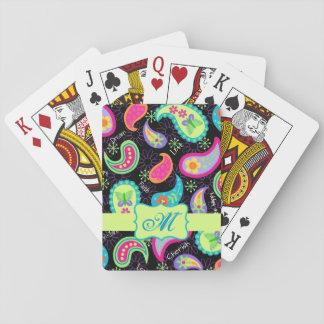 Black Colorful Modern Paisley Pattern Monogram Playing Cards