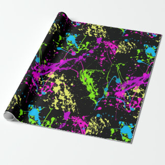 Black Colorful Neon Paint Splatter Pattern Wrapping Paper