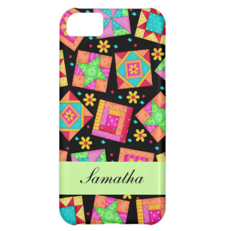 Black & Colorful Patchwork Quilt Block Custom iPhone 5C Cover